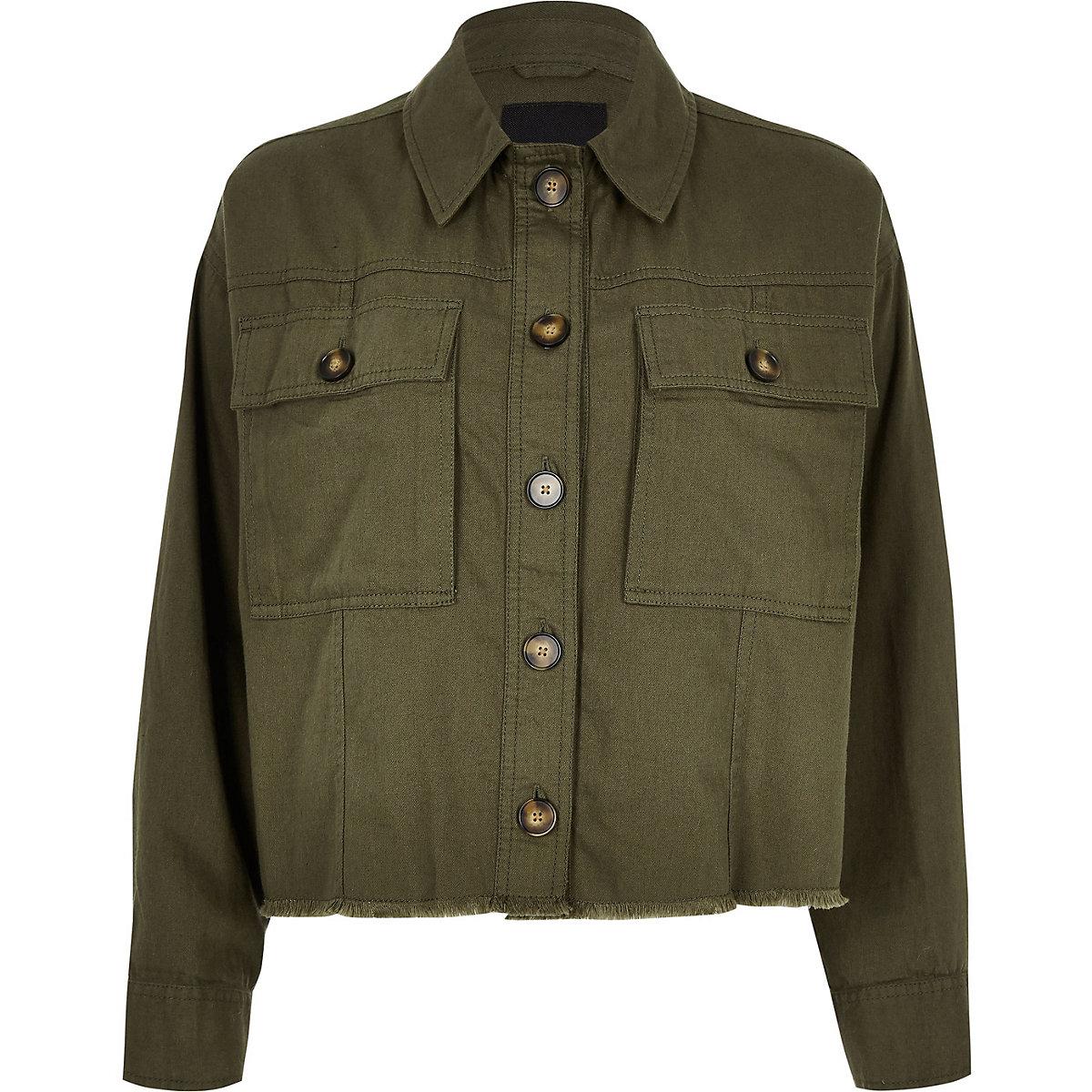Khaki Cropped Army Shacket