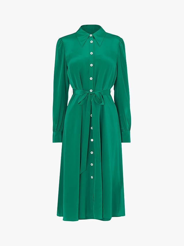 L.K. Bennett Runa Tie Waist Shirt Silk Dress
