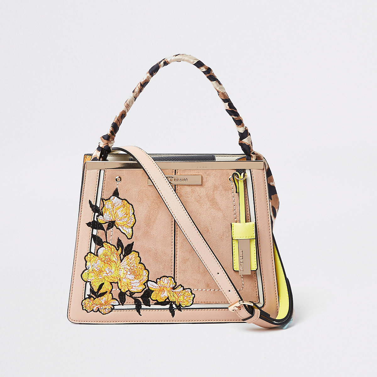 Light Pink Embroidered Top Handle Bag