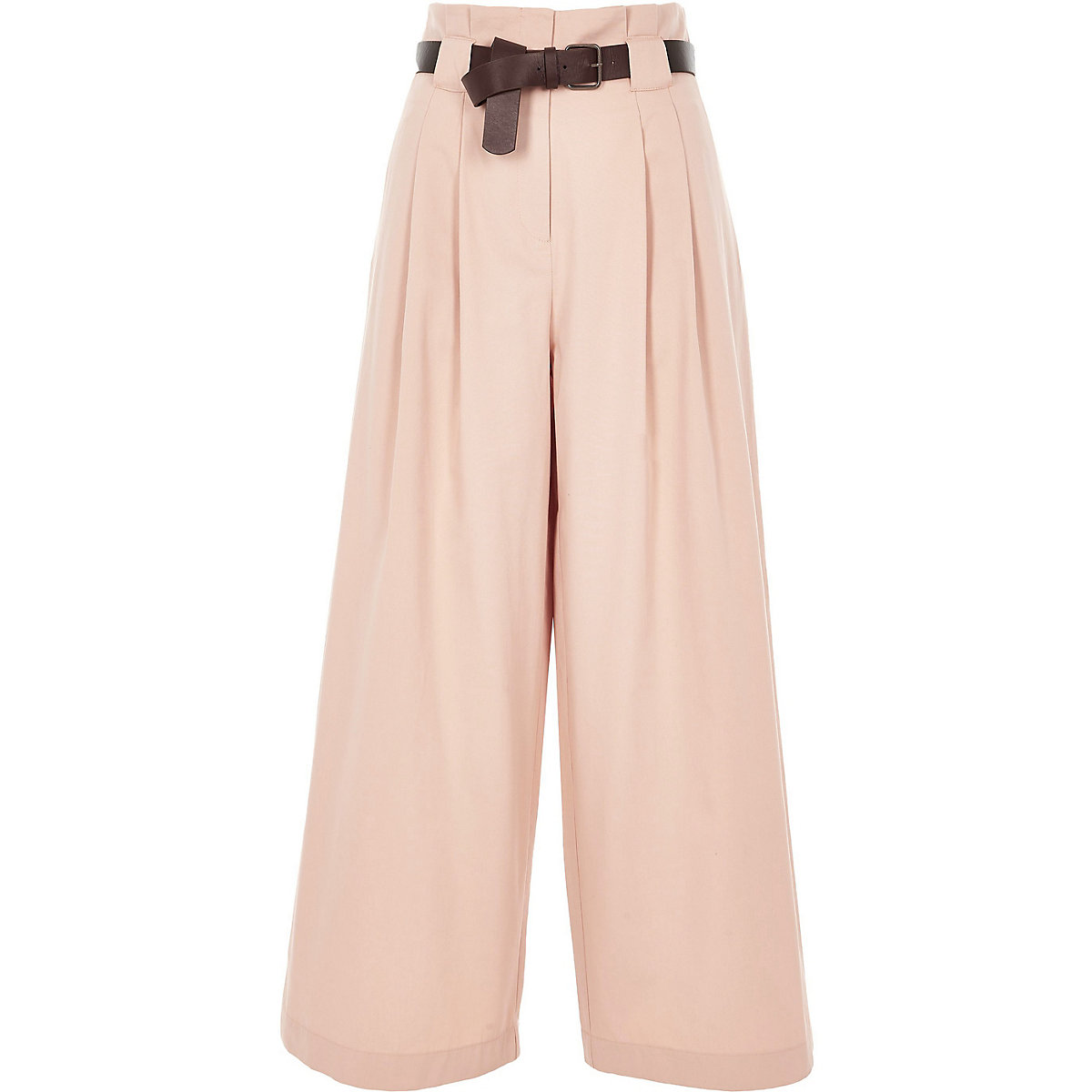 Petite Pink Belted Wide-Leg Trousers