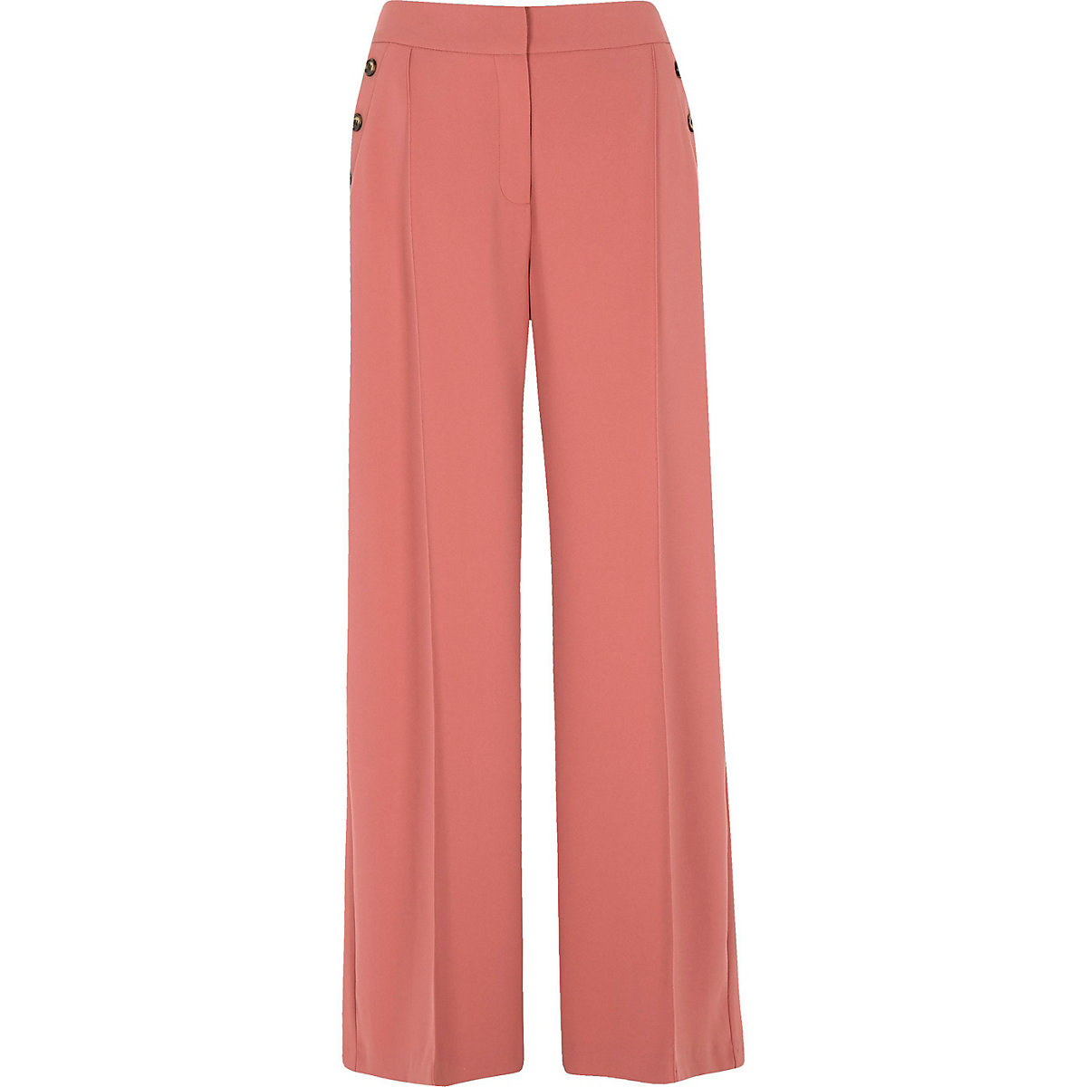 Pink Button Wide-Leg Trousers