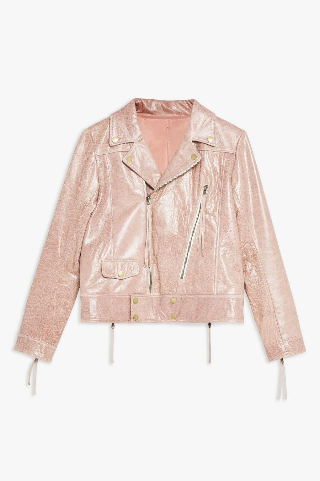 Pink Cracked Look Biker Jacket