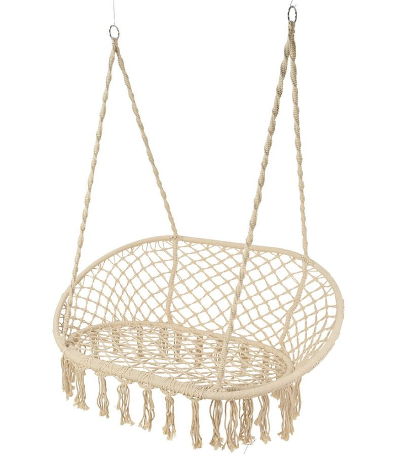 A By Amara Outdoor Hanging 2 Seat Chair with Fringing
