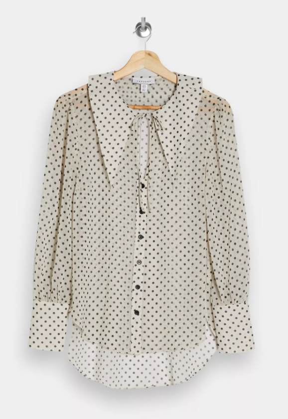 Cream Oversized Spot Collar Blouse