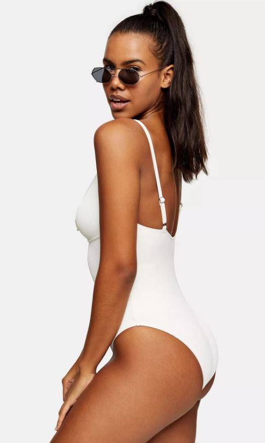 Cream Ribbed Prairie Ring Swimsuit