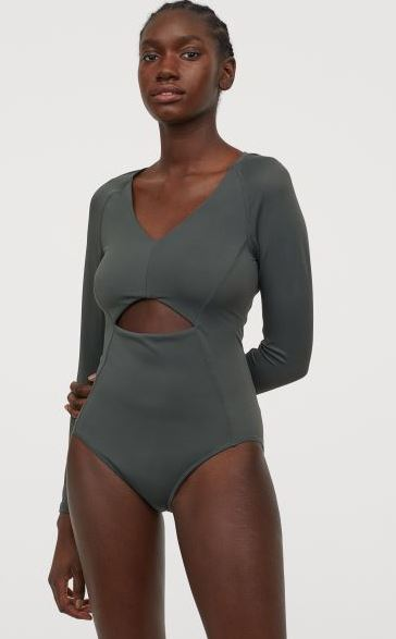 Dark Green Long-Sleeved Shorty Wetsuit