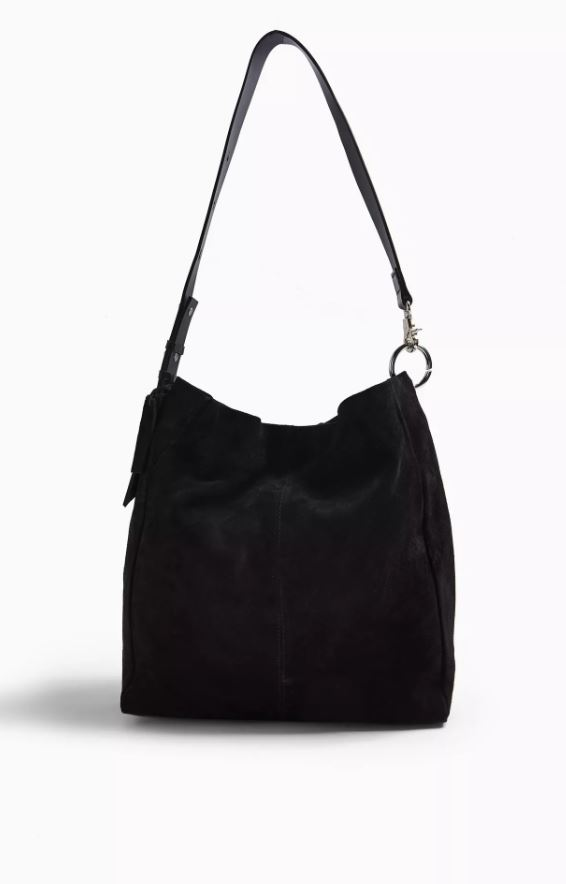 Lena Black Leather Hobo Bag