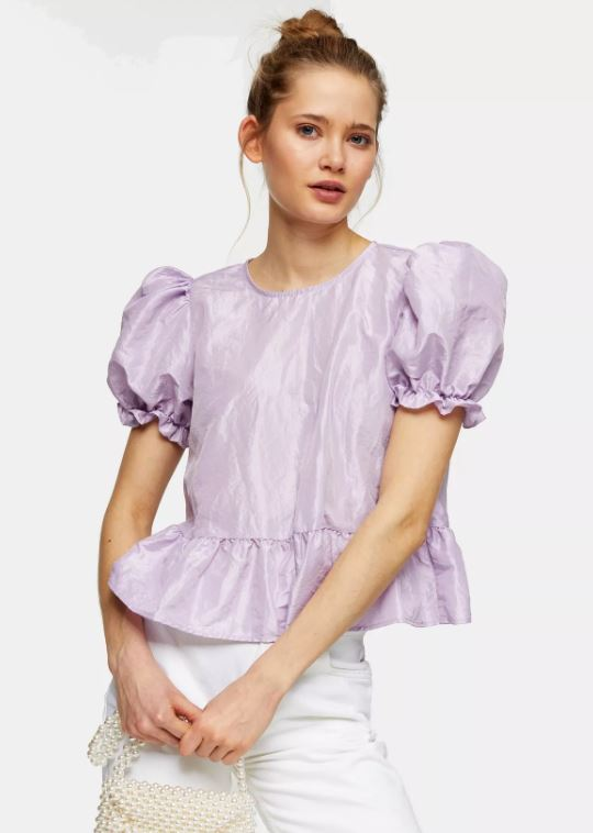 Lilac Bow Back Taffeta Top