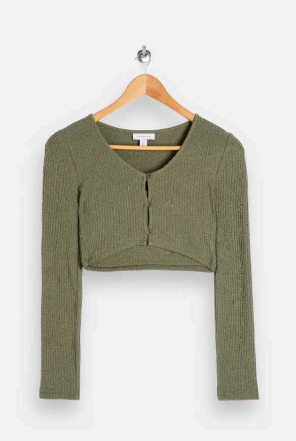Olive Textured Cardigan And Cami Set