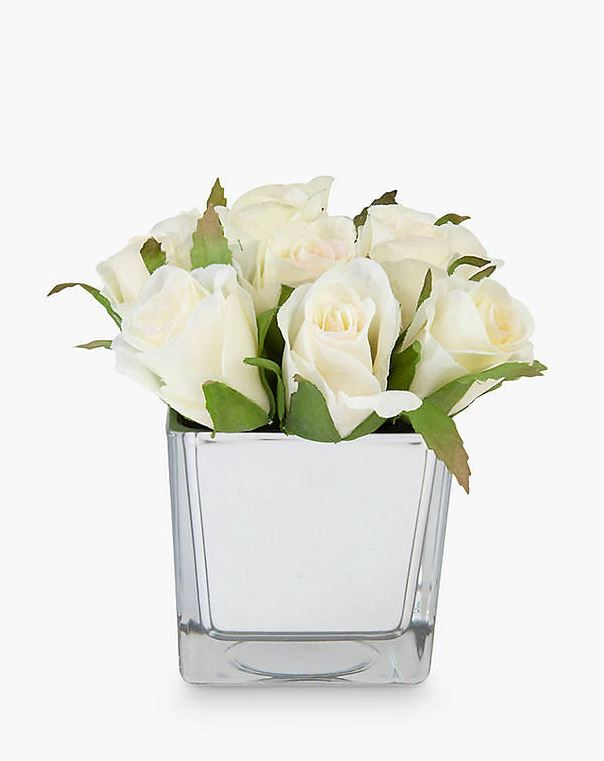 Peony Artificial White Roses in Glass Cube