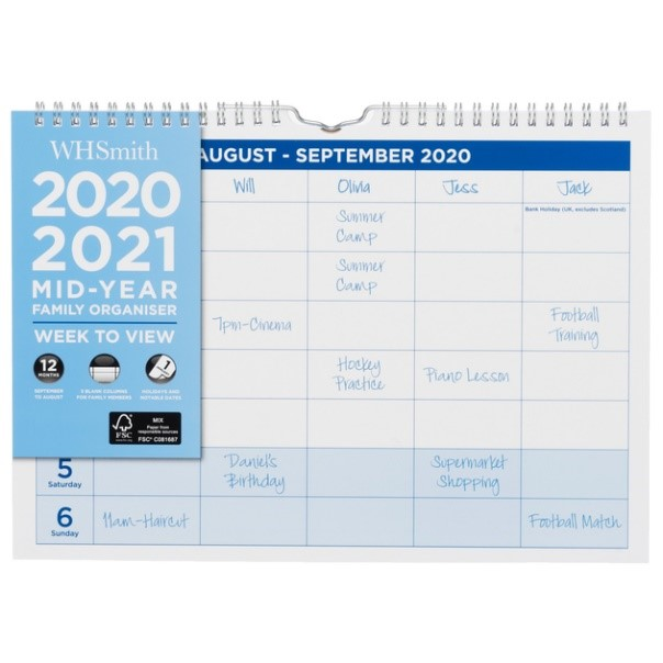 WHSmith Week to View 2020-21 Mid-Year A4 Family Organiser, £5.99 from WH Smith