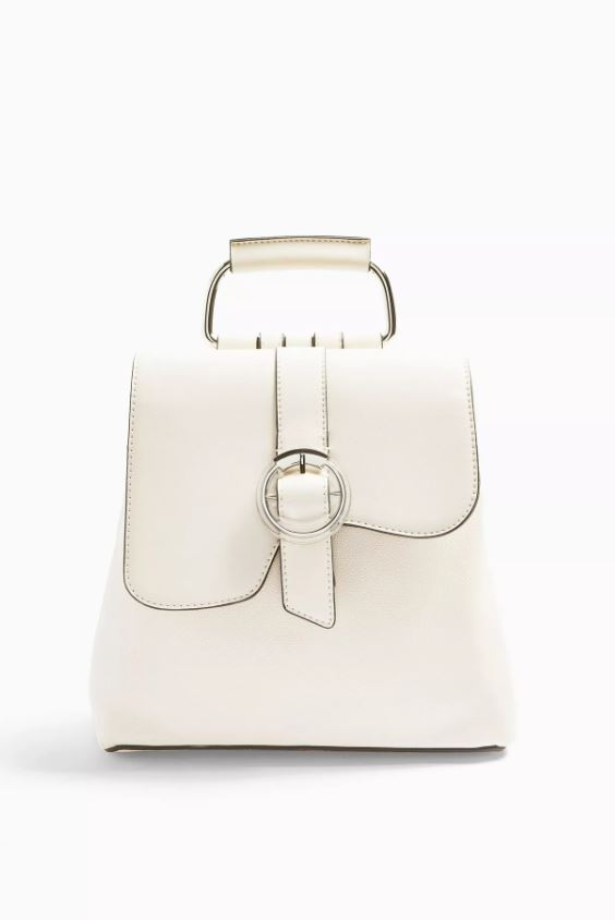 Polly White Buckle Backpack