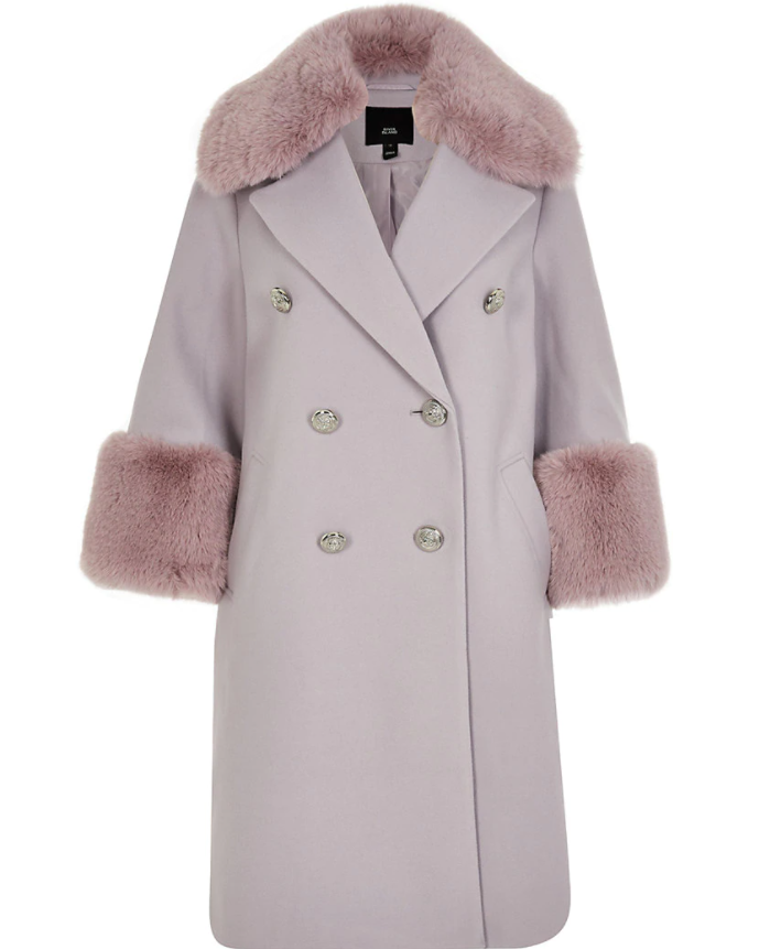 Purple Faux Fur Cuff Swing Coat