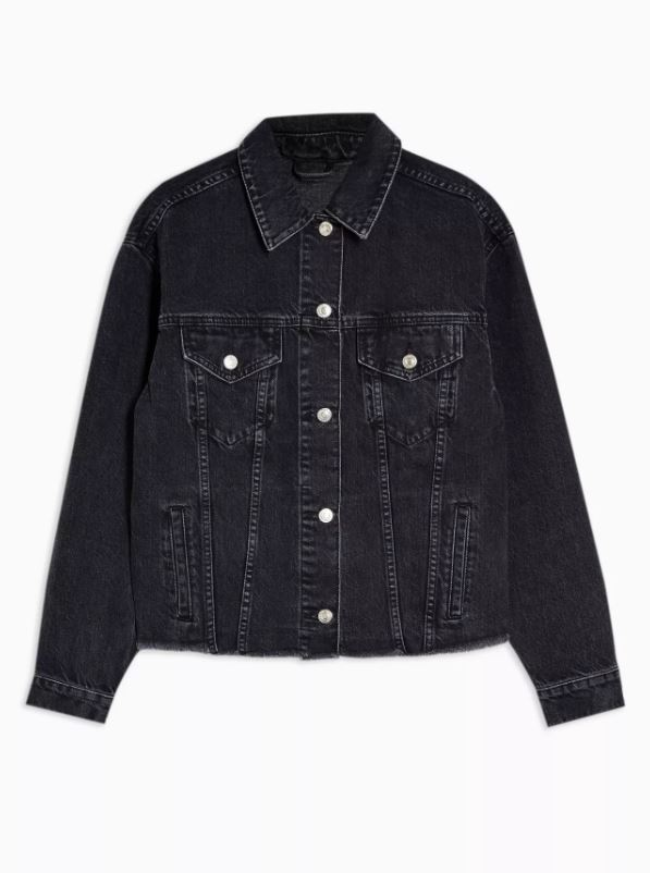 Raw Hem Washed Black Oversized Denim Jacket