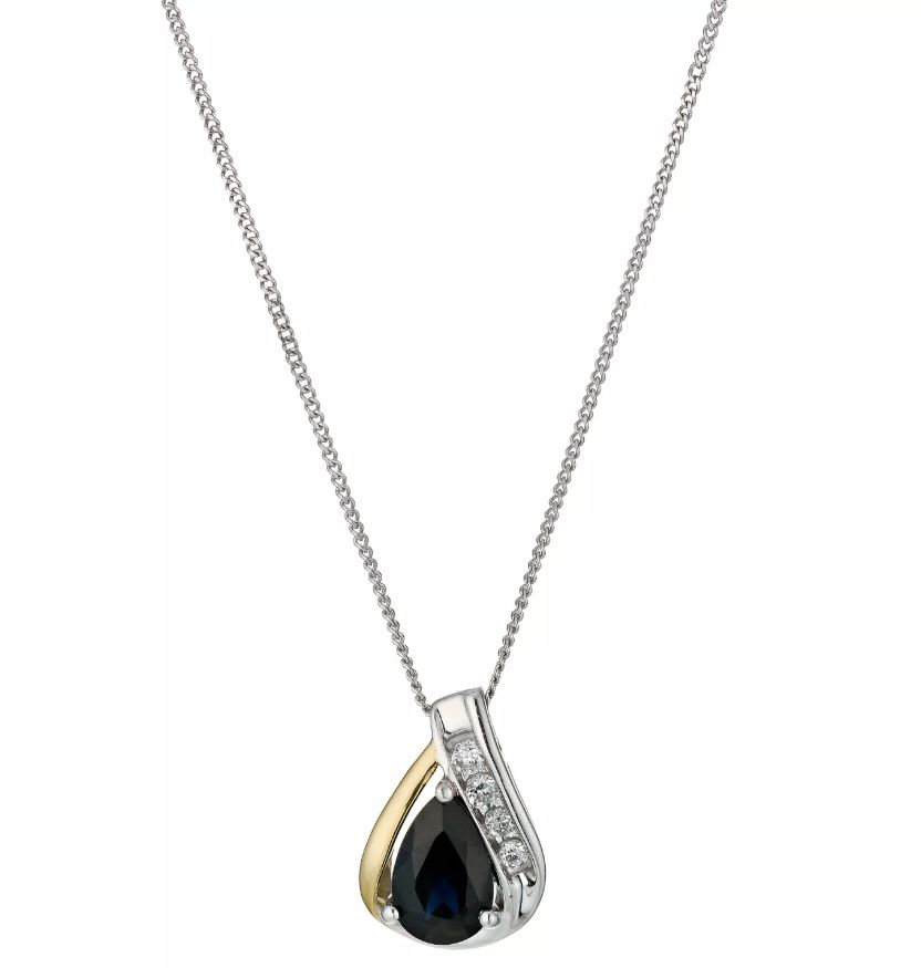 Silver & 9ct Yellow Gold Teardrop Sapphire Pendant