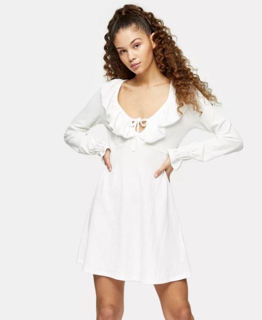 White Crinkle Ruffle Mini Dress