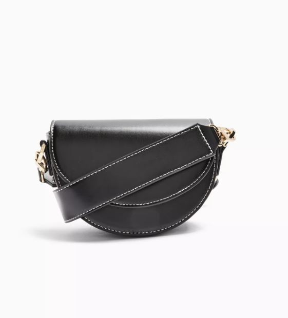 Work Black Saddle Cross Body Bag