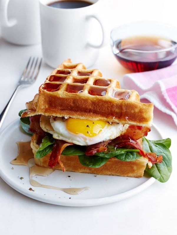 Buttermilk Waffle, Bacon and Egg Sandwich