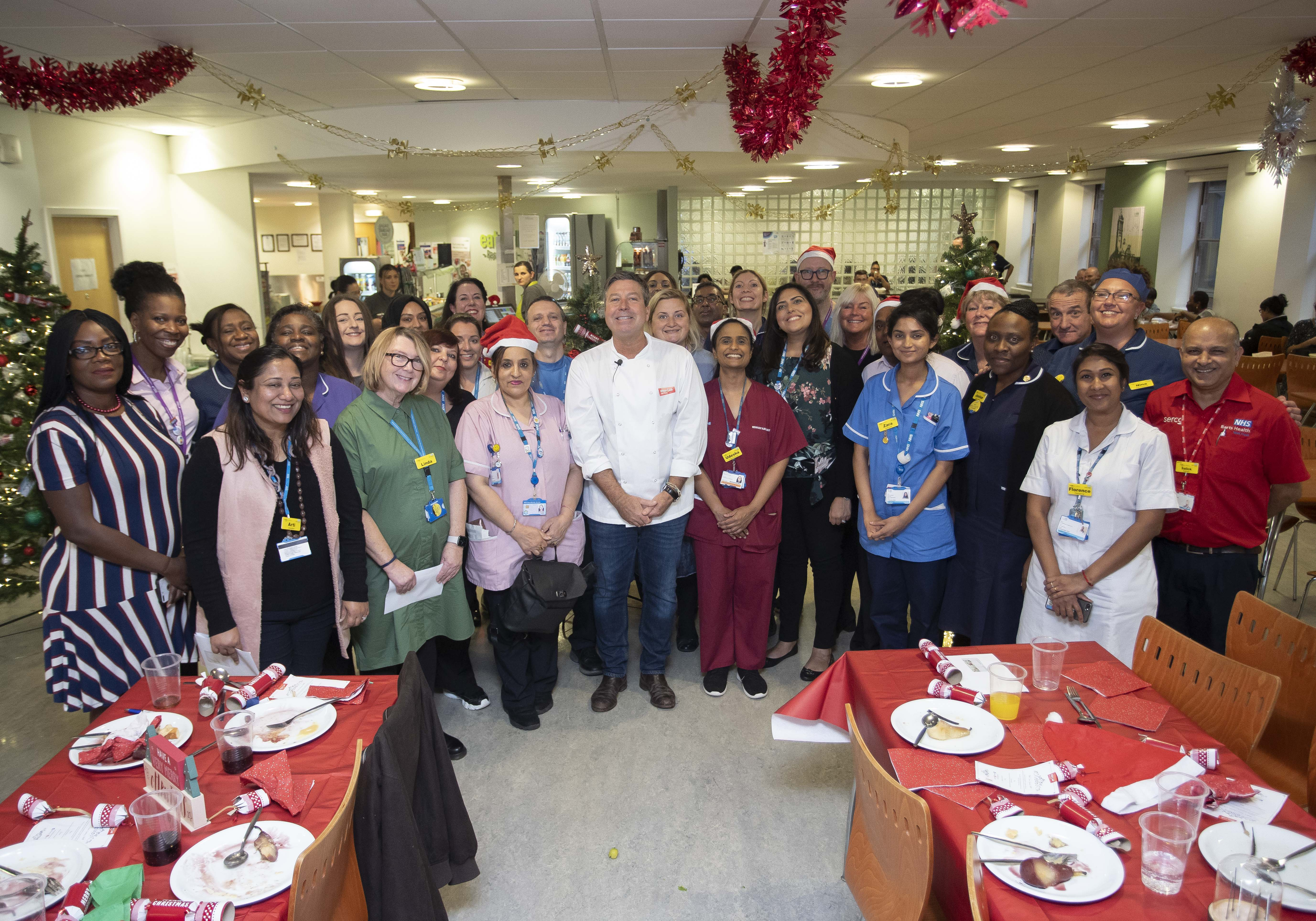 John Torode with staff at Newham Hospital