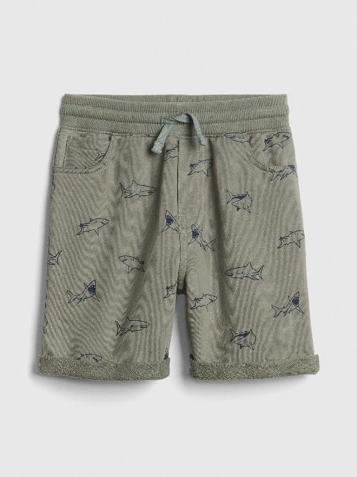 Boys Toddler Grey Shark Print Shorts